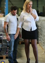 Horny MILF is taking a cock up her ass in a warehouse