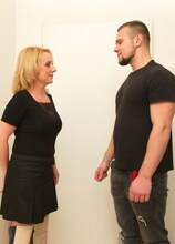 Naughty housewife brings in a toy boy for hot fun on the couch