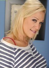 Blonde cougar Jaycie peels off her red lace panties. in Karupsow | Elite Mature