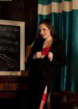 Naughty teacher Sophia Delane spreads older hairy pussy. in Karupsow | Elite Mature