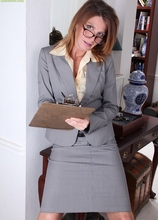 Gorgeous cougar Sky Rodgers drops business skirt to floor. in Karupsow | Elite Mature