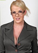 Busty secretary Anita Blue strips butt ass naked. in Karupsow | Elite Mature