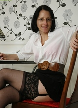 Office secretary Amber Clare masturbating in chair. in Karupsow | Elite Mature