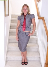 Mature amateur Sky strips naked on the stairs after work. in Karupsow | Elite Mature