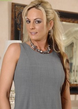 Busty blonde MILF Sindy Lange spreads her pink pussy lips. in Karupsow | Elite Mature