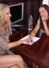 Cougars Karen and Tabitha eat each other out in the office. in Karupsow | Elite Mature