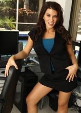 Busty MILF Leena Sky gets butt naked on her office desk. in Karupsow | Elite Mature
