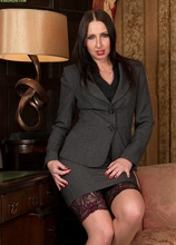 Office cougar Tracey Lain naked in stockings and heels. in Karupsow | Elite Mature