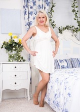 Busty granny Margaret Holt naked in beige stockings. in Karupsow | Elite Mature