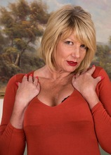 Horny older babe Amy Goodhead spreads pierced pussy. in Karupsow | Elite Mature