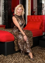 Molly Maracas strips off leopard print dress and fingers mature box. in Karupsow | Elite Mature