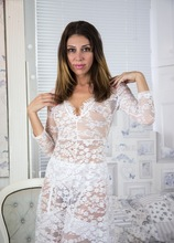 Hairy MILF Chloe spreads pussy wearing white stockings. in Karupsow | Elite Mature