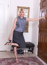 Horny business woman Bossy Ryder strips after work. in Karupsow | Elite Mature