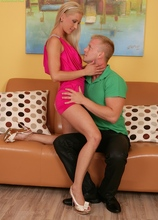 Blonde MILF Uma Zex bounces on his hard dick. in Karupsow | Elite Mature