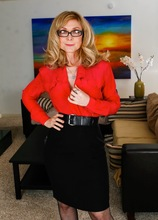 Busty mature cougar Nina Hartley in sexy black stockings. in Karupsow | Elite Mature