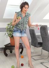 Meggie Spills Her Fruit And Drops Her Panties - AllOver30.com