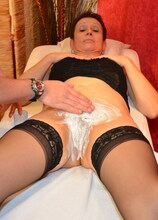 Fucking that freshly shaved mature pussy