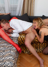 Two horny mature sluts seduce a young man for a threesome