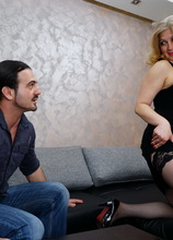 This curvy mature lady loves to ride her toyboys cock