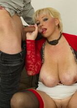 Big breasted mature lady sucking and fucking her ass off