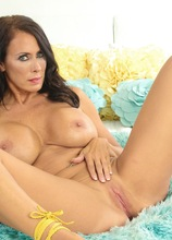 Busty cougar Reagan Foxx naked in yellow heels. in Karupsow | Elite Mature